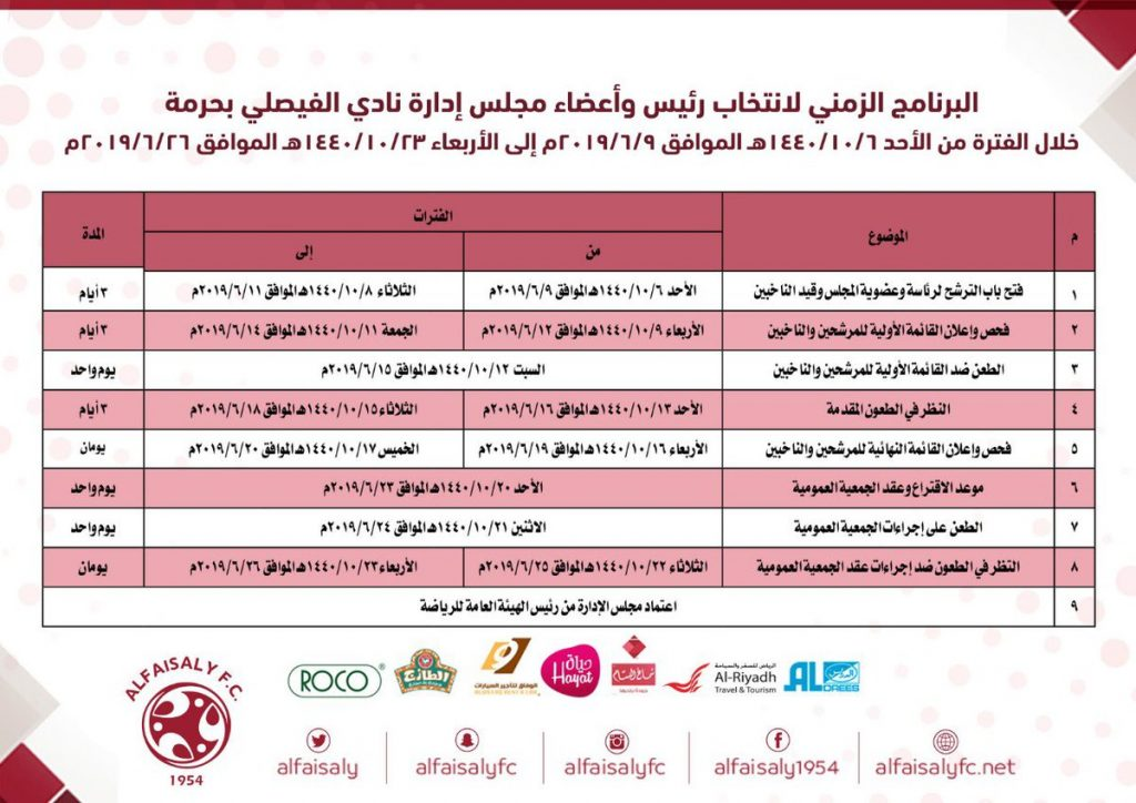 البرنامج الزمني لانتخاب رئيس وأعضاء مجلس إدارة نادي الفيصلي